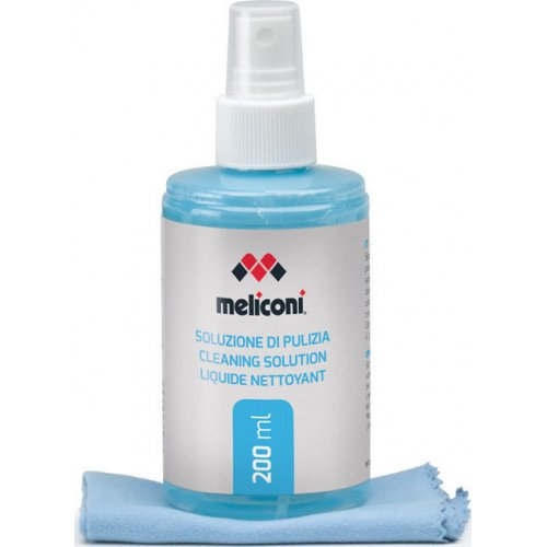 MELICONI C-200 Υγρό Καθαρισμού 200 ml + Πανί με Μικροΐνες για Οθόνη
