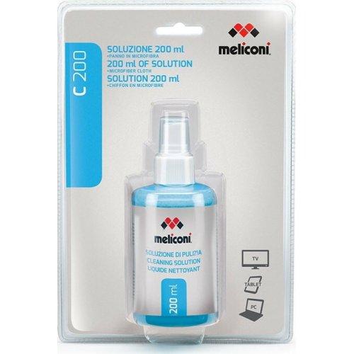 MELICONI C-200 Υγρό Καθαρισμού 200 ml + Πανί με Μικροΐνες για Οθόνη 0006602