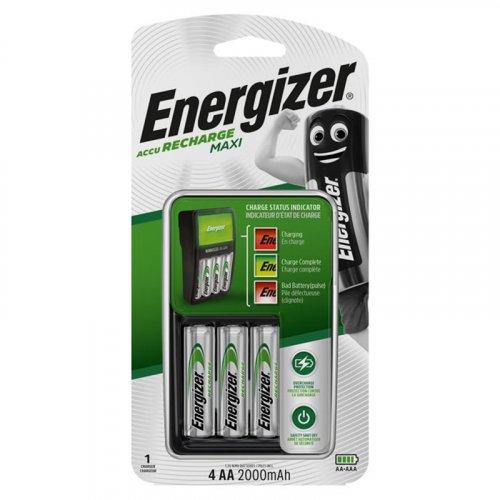 ENERGIZER MAXI CHARGER & 4xAA Φορτιστής μπαταριών με 4 επαναφορτιζόμενες μπαταρίες ΑΑ 2000mAh
