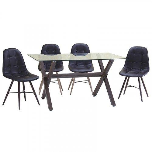 FYLLIANA  618-16-001 Καρέκλα Καφέ Δερμάτινη με  Wenge Πόδια 52 χ 44 χ 85 0014327