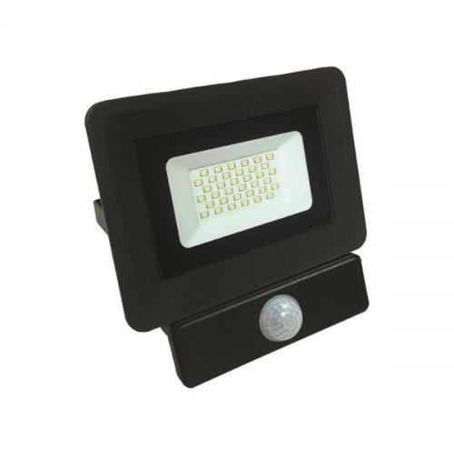 EUROLAMP 147-69455 Προβολέας LED SMD με Ανιχνευτή Κίνησης BASIC 30W Μαύρος IP65 6500K