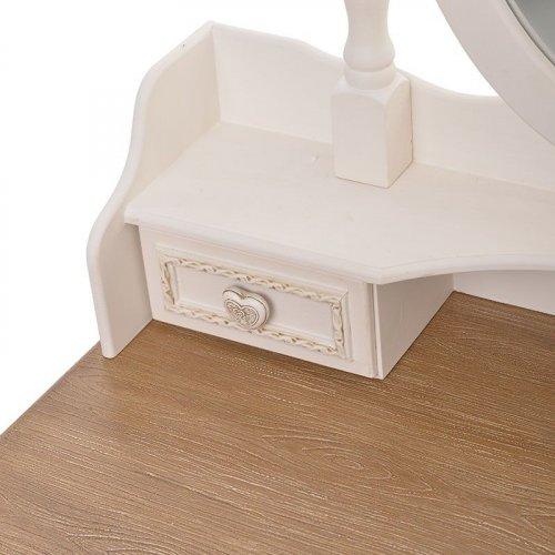 INART 3-50-147-0046 Μπουντουάρ Ξύλινο Λευκό-Μπεζ με Καθρέφτη 75 x 40 x 140cm 0015993