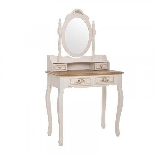 INART 3-50-147-0046 Μπουντουάρ Ξύλινο Λευκό-Μπεζ με Καθρέφτη 75 x 40 x 140cm