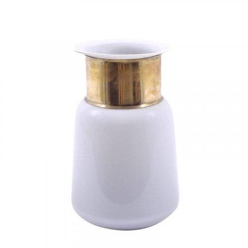 ETIQUETTE 1-514-82-018 Μπουκάλι Φυσητό Γυαλί Λευκό Με Χρυσό Στόμιο Μεγάλο 18x18x27εκ.