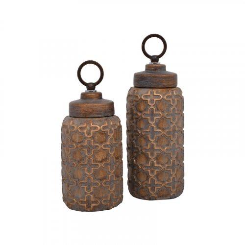 ETIQUETTE 1-373-92-208 Κεραμικό Βάζο Με Καπάκι Καφέ 68582