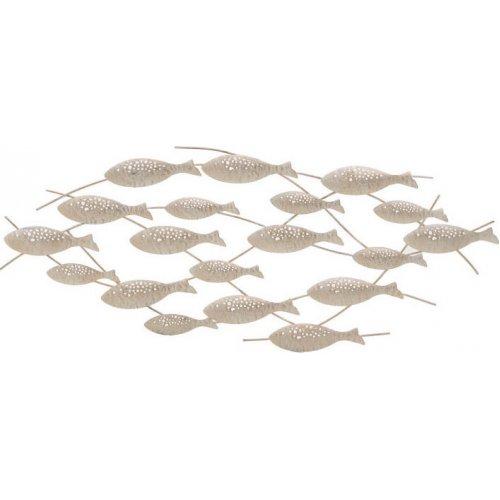 INART 3-70-120-0022 Διακοσμητικό Τοίχου Μεταλλικό Ψάρια Αντικέ Λευκό/Εκρού 84,5χ1,5χ26εκ.