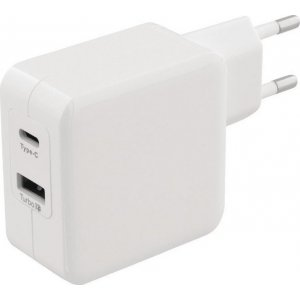 SWEEX CH-015WH Universal Φορτιστής με Δύο Εξόδους, 1x USB και 1x USB type-C 4.8A, σε Λευκό Χρώμα