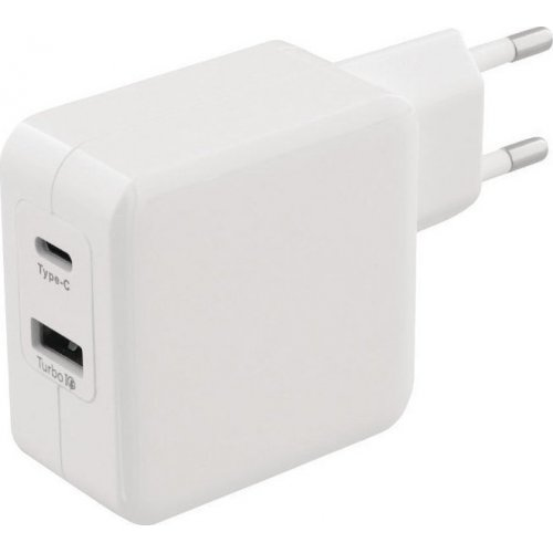 SWEEX CH-015WH Universal Φορτιστής με Δύο Εξόδους, 1x USB και 1x USB type-C 4.8A, σε Λευκό Χρώμα 0018927