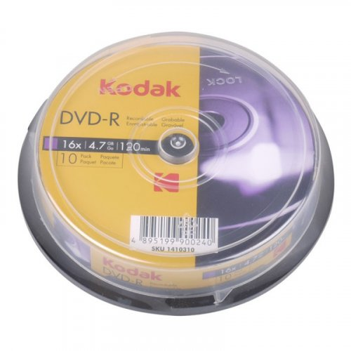 KODAK DVD-R 10-Pack 16x 4.7GB, 10-pack cakebox 0019083