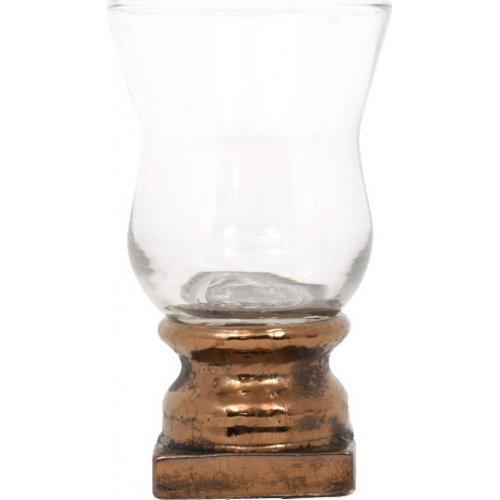 ETIQUETTE 1-0036-92-016 Κεραμικό Κηροπήγιο Με Γυαλί Μπρονζέ 5514 22.5εκ