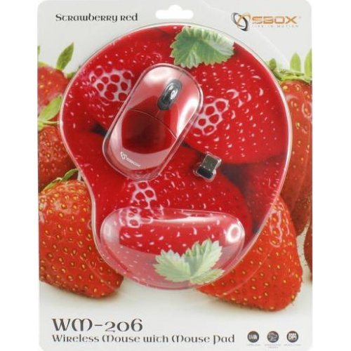 SBOX WM-206R Wireless Mouse + Pad Red 0019569