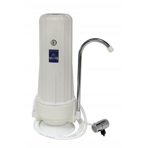AQUA FILTER FHCTF-W-RA Σύστημα Φιλτραρίσματος Νερού Άνω Πάγκου Καμπάνα Λευκή με Μεταλλικό Διανομέα