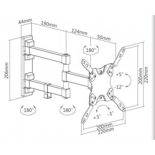 SBOX LCD-223 Επιτοίχια Βάση Τηλεόρασης Wall Mount With Double Arm 13