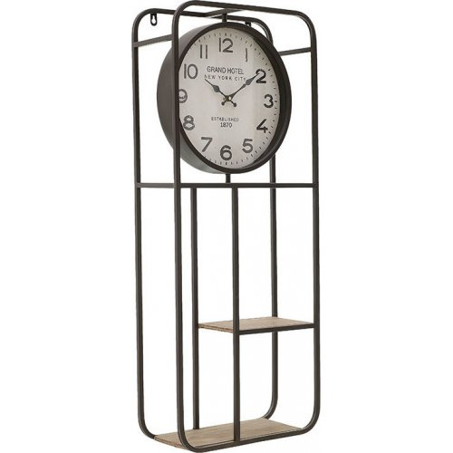 INART 3-20-484-0440  Ρολόι / Ράφι Τοίχου Μεταλλικό / Ξύλινο Μαύρο / Natural 35.5 x 15 x 86