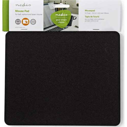 NEDIS MPADF100BK Mousepad Μαύρο, 18 x 22 cm 0021539