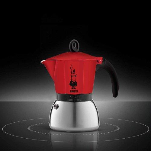 BIALETTI Moka Induction Καφετιέρα Espresso 3 Μερίδων Κόκκινο - Για επαγωγικές εστίες - Αλουμινίο (0004922) 0021560