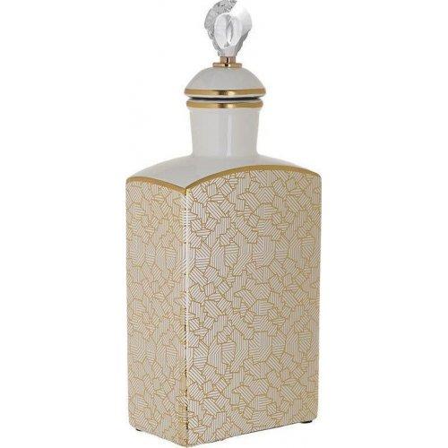 INART 3-70-902-0096 Βάζο Με Καπάκι Κεραμικό Λευκό / Χρυσό 16 x 10 x 43 0021576