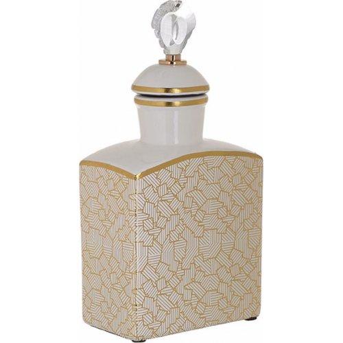 INART 3-70-902-0097 Βάζο Με Καπάκι Κεραμικό Λευκό / Χρυσό 15 x 10 x 34 0021577