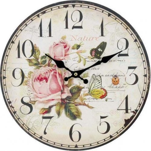 INART 3-20-773-0054 Ρολόι Τοίχου Ξύλινο Τριαντάφυλλα 34 x 4 0021884