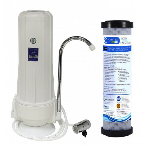 AQUA FILTER FHCTF-W-RA Σύστημα Φιλτραρίσματος Νερού Άνω Πάγκου Καμπάνα Λευκή με Μεταλλικό Διανομέα + MATRIKX +PB1 0.5μm