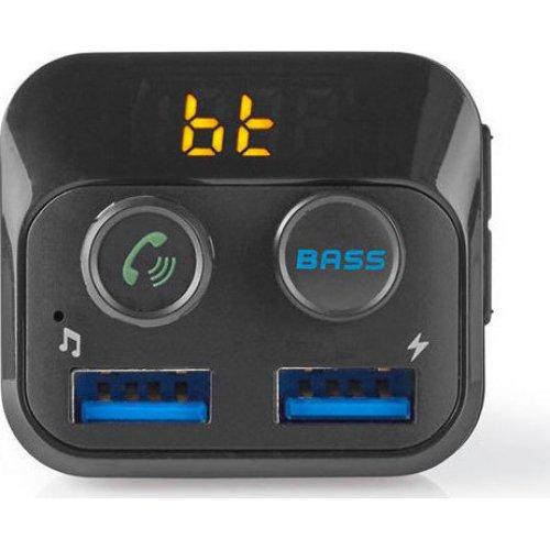 NEDIS CATR120BK 3 σε 1 Bluetooth Αναμεταδότης FM, Hands Free και Φορτιστής με Οθόνη LED και Λειτουργία Bass Boost