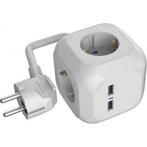 HEITECH HEI002254 Socket Cube (4-WAY) With 2 USB Charging-Connectors 0023179