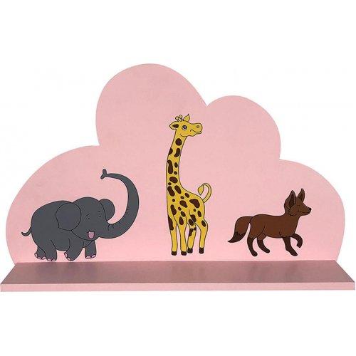 INART 3-50-876-0004 Τοίχου Σύννεφο Ξύλινο Ρόζ 40χ8χ14 0023312