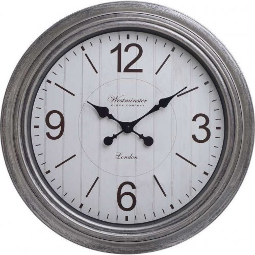 INART 3-20-864-0120 Ρολόι Τοίχου Pl Αντικέ Ασημί Δ52χ6εκ. 0023314
