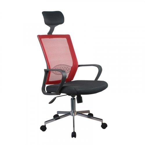 FYLLIANA 5629 093-92-123 Καρέκλα Γραφείου Μαύρο Κάθισμα-Κόκκινη Πλάτη 58χ61χ116/126εκ.