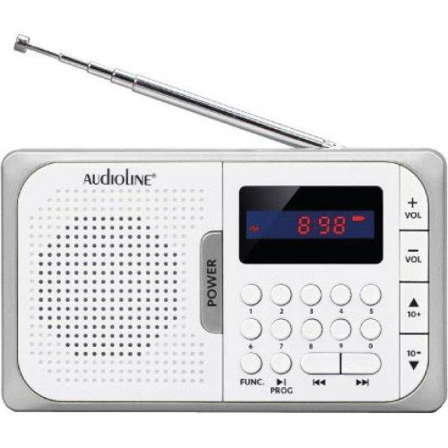 AUDIOLINE TR-210 Ψηφιακό φορητό ραδιόφωνο USB/Micro/SD/PLL  Λευκό-Ασημί 0023874