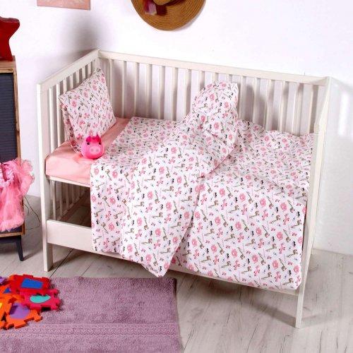 SB HOME Σετ Σεντόνια Κούνιας Εμπριμέ Baby Melva Pink 120χ160εκ. 0024397