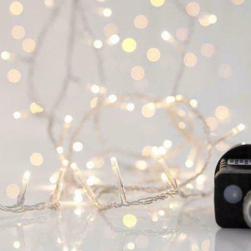 EUROLAMP 600-11571 Χριστουγεννιάτικα Λαμπάκια LED 140 Θερμό Λευκό 3mm με Προγράμματα, Σειρά, Διαφανές Καλώδιο Ρεύματος 10m 0025562