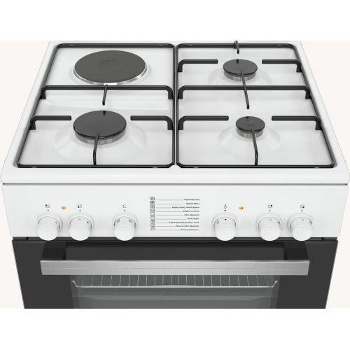PITSOS PHC009G20 Κουζίνα Μικτή Αεριού και Ρεύματος Λευκή (Υ xΠx Β) (mm): 850 x 600 x 600cm 0026060