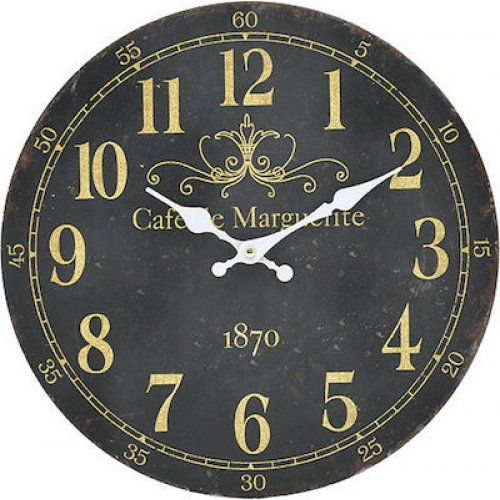 INART 3-20-773-0352  Ρολόι Τοίχου Ξύλινο 34cm 0026081