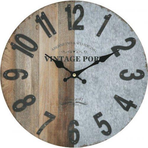 INART 3-20-773-0354 Ρολόι Τοίχου Ξύλινο 34cm 0026082