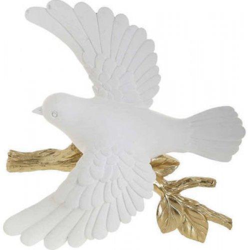 INART 3-70-117-0139 Πουλί Διακοσμητικό  Λευκό/Χρυσό 25x7x25εκ 0026762