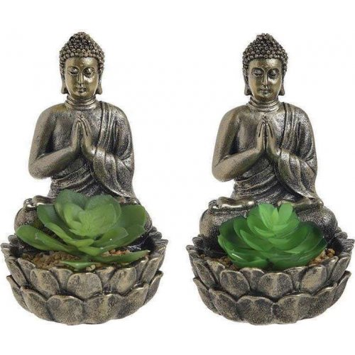 INART 3-85-475-0237 Διακοσμητικό Βούδας Με Φυτό 12χ12χ18 0026830