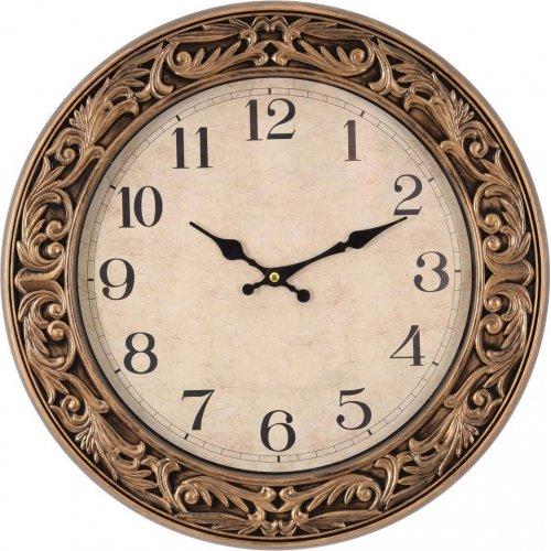 INART 3-20-385-0005 Ρολόι Τοίχου Πλαστικό  Αντικέ Χρυσό Δ45 0027863
