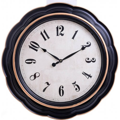 INART 3-20-385-0056 Ρολόι Τοίχου Πλαστικό  Μαύρο/Λευκό Δ76 0027866