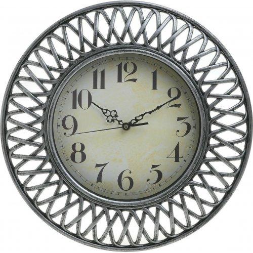 INART 3-20-385-0067 Ρολόι Τοίχου Πλαστικό  Ασημί Δ40 0027869