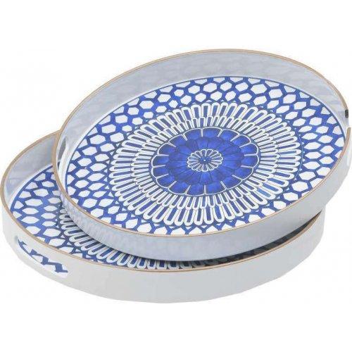 INART 3-70-973-0016 Διακοσμητικός Δίσκος Πλαστικός Μπλε Λευκό 37x37cm 2τμχ 0028375