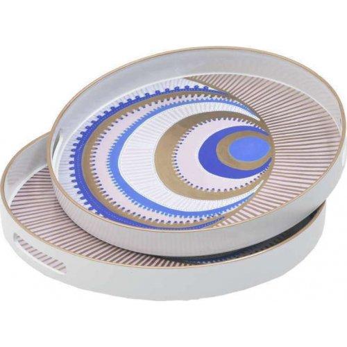 INART 3-70-973-0017 Διακοσμητικός Δίσκος Πλαστικός 37x37cm Σετ 2τμχ 0028376