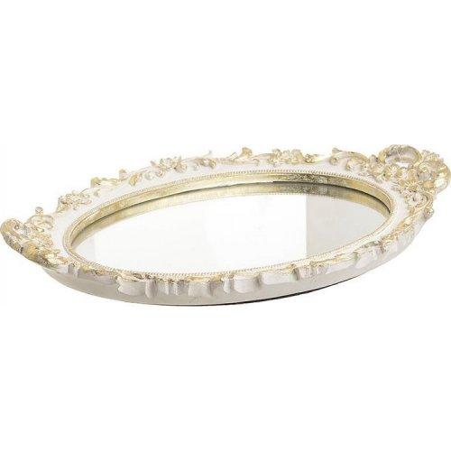 INART 3-70-364-0031 Δίσκος Με Καθρέπτη Polyresin Λευκός / Χρυσός 45x26x5cm 0020073