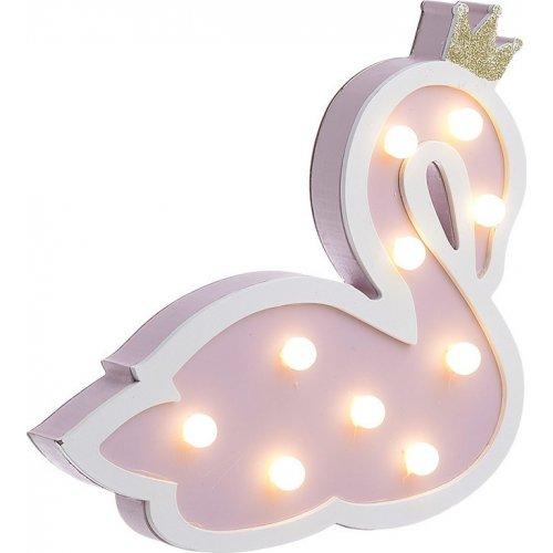 INART 3-70-540-0055 Διακοσμητικό Τοίχου Παιδικό Κύκνος Ξύλινος Ροζ Με Φως 24 x 4 x 22 0021044