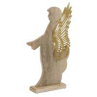 INART 2-70-429-0080 Χριστουγεννιάτικο Διακοσμητικό Άγγελος Ξύλινος - Μεταλλικός Natural - Χρυσός 24 x 7 x 44