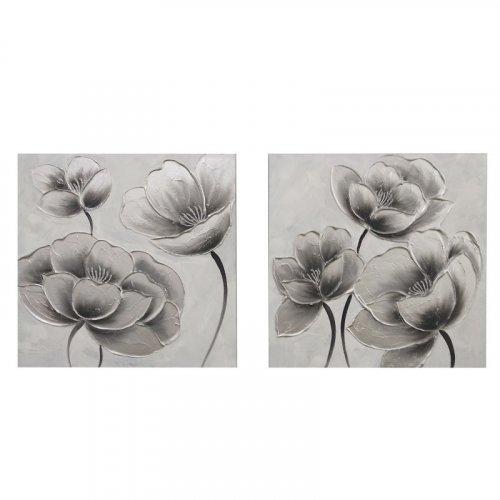 FYLLIANA 148-92-043 Κάδρο Με Καμβά 1/2 Flower Νο 2 Ασημί 60 x 2.3 x 60 0021409