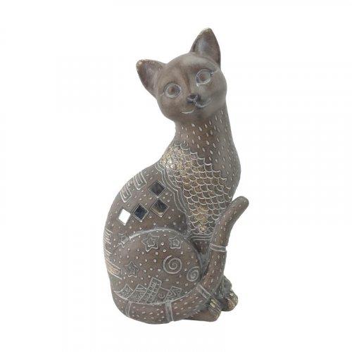 FYLLIANA 269-00-102 Διακοσμητική Γάτα Καφέ 23 εκ