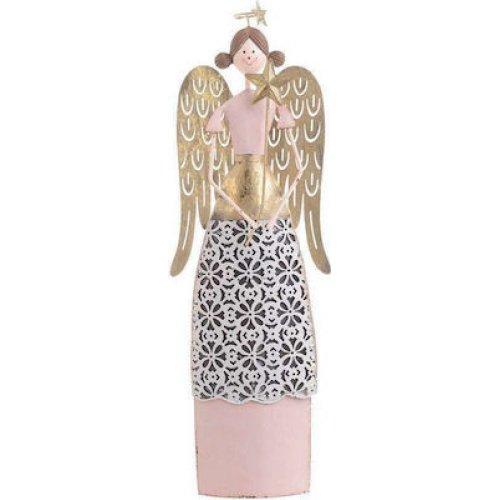 INART 2-70-822-0013 Άγγελος Χρυσό/Ροζ  11x4x32cm 0025158
