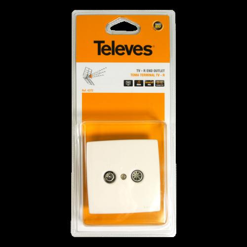 TELEVES 4372 ΤV-R Τερματική Πρίζα με δυο Υποδοχές Blist 291258
