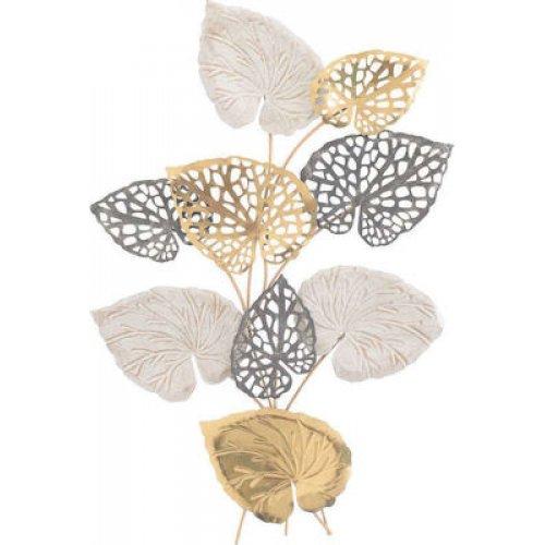 INART 3-70-447-0134 Μεταλλικό Διακοσμητικό Τοίχου Φύλλα Χρυσό/Εκρού 64χ5x90 0025852